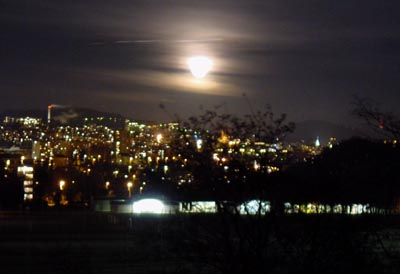 moon rising over Lausanne