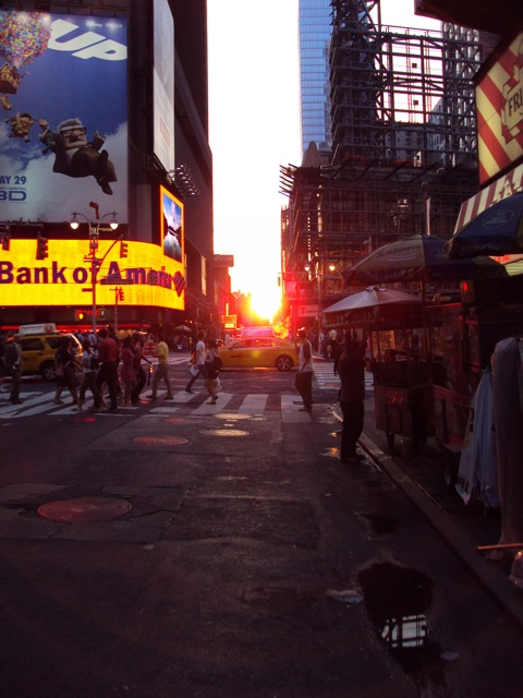 Sunset on Times Square after dinner at the Havana Central
