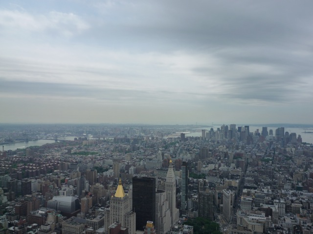 View south from the observation deck of the Empire State Building. Notice the crappy weather…