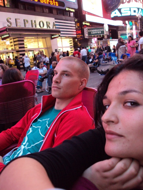 The happy couple in Times Square