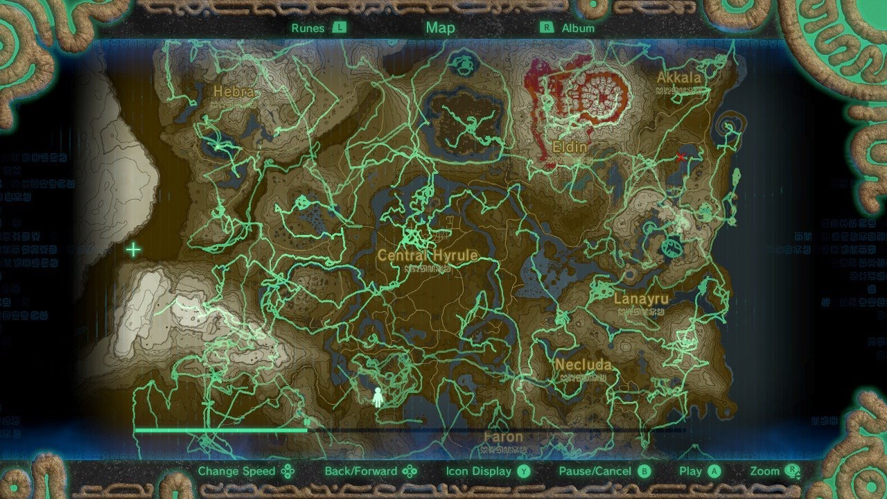 All the places I've been in Zelda after about 80 hours